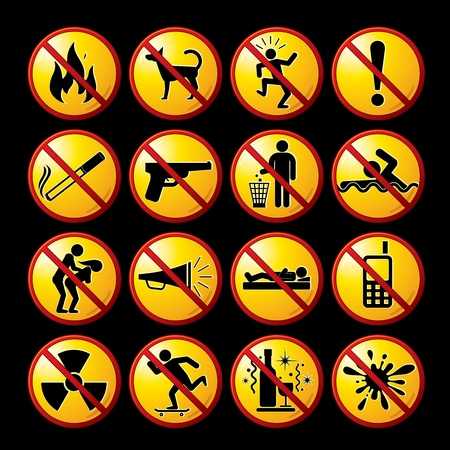Set of modern restrictive and warning signs, icons, pictograms - vector clip-art ready for your design. Stock Vector - 9569656