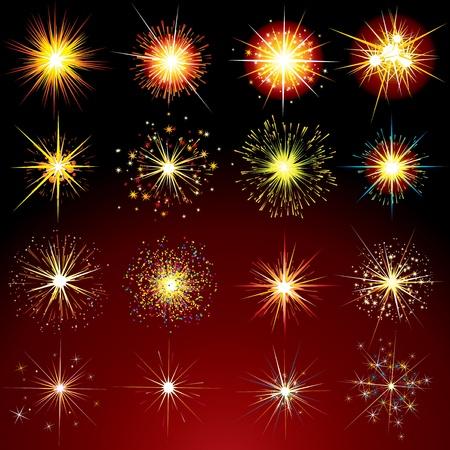 parade confetti: Brillantes variaci�n estrellas, Flashes, fuegos artificiales, chispas y bengalas - elementos de dise�o de aisladas vectoriales