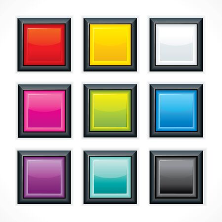 Glassy blank web buttons. Square shaped with reflection and black border Stock Vector - 9569654