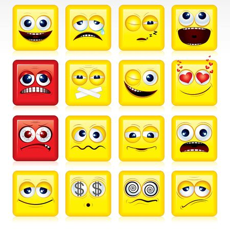 making face: Square shaped yellow Smileys - vector icon set Illustration