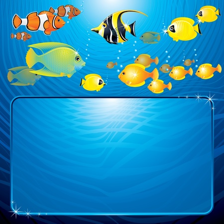 seawater: Sea Life scene with variety tropical Fishes and space for your text or design Illustration