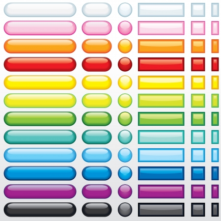 Multicolored shine buttons for your web design - only gradients used Stock Vector - 9569662