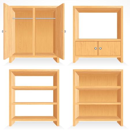 Conjunto de vectores de muebles de madera Natural - estantería aislado, gabinete, armario, rack etc....
