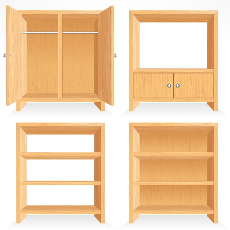 clothes rack: Vector set of Natural wooden Furniture - isolated bookshelf, cabinet, closet, rack etc...