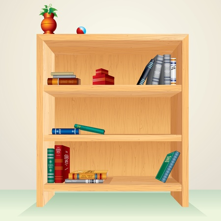 wooden shelf: Bookshelf with books, magazines and other items - all vector elements separated and grouped