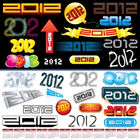 2012 new year labels, icons, logos, tags and stamps - set of various conceptual vector design elements Stock Vector - 9717544