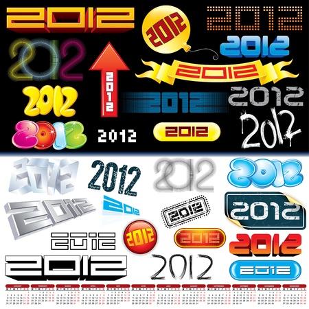 typography signature: etiquetas de a�o nuevo de 2012, iconos, logotipos, etiquetas y sellos - conjunto de varios elementos de dise�o conceptual de vectores Vectores