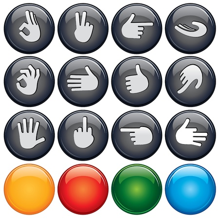 Shiny Web Buttons with Gestures and Hand Signs Vector