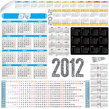 Calendar Kit - various calendar grids for next 2012 year Vector