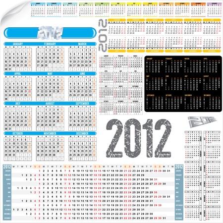 Calendar Kit - various calendar grids for next 2012 year Stock Vector - 9717548
