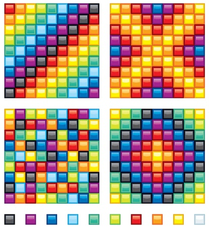 Vector Colorful Design Elements - four seamless patterns and set of shine square tiles Stock Vector - 9717540