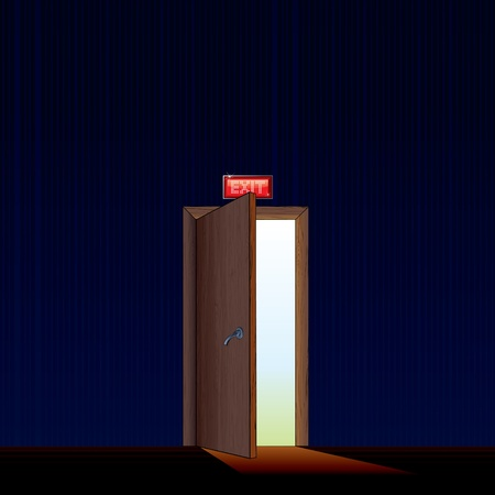 hallway: Exit from dark Room - vector illustration