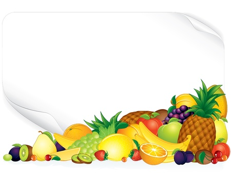 Blank paper poster with ripe fruits - vector illustration Stock Vector - 9717541