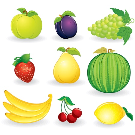 rich in vitamins: Cartoon Fruits Set - illustrations isolated on white background - vector icon of mango, bananas, pear, pineapple, persimmon, kiwi etc...