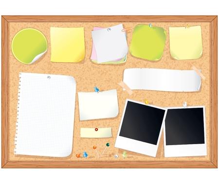 Cork babillard avec diverses notes papier et autocollants mémo - illustration vectorielle, tous les éléments séparés