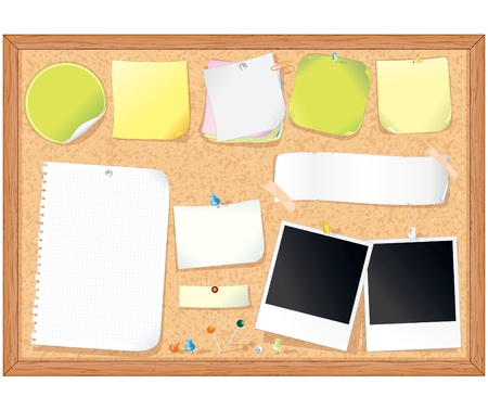 пробка: Cork message board with various paper notes and memo stickers - vector illustration , all elements separated