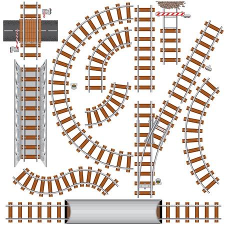 ferrocarril: Elementos aislado de ferrocarril para crean su propio revestimiento de ferrocarril. Ilustraci�n vectorial detallados incluyen: puente, se�al de ferrocarril, cruce de ferrocarril, rieles, cruce de tren...