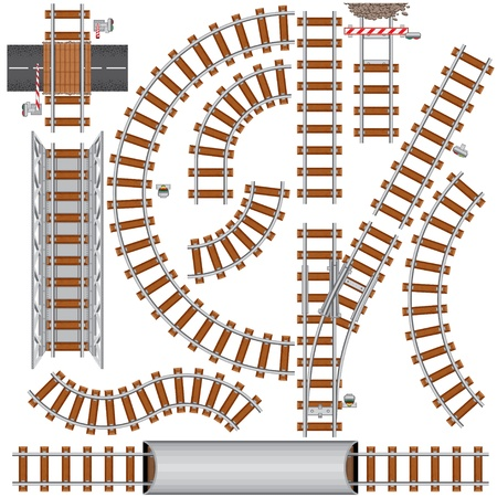 include: Railroad isolated elements for create your own railway siding. Detailed vector illustration include: train bridge, railroad signal, railway crossing, rail sections, junction...
