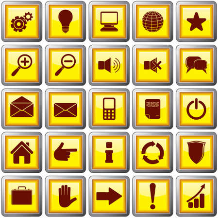 Shiny Square Shaped  Web Buttons with useful symbols  vector illustration Stock Vector - 9717534