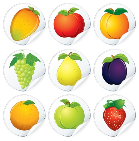 Set of Isolated Vector Stickers with fresh cartoon fruits Vector