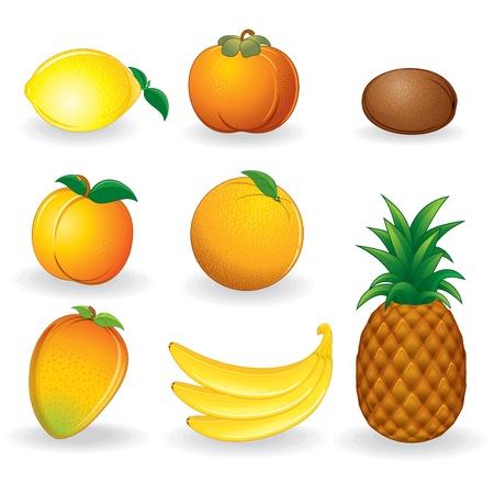Cartoon frutas establecer vector icono de naranja, mango, plátano, limón, piña, caqui, kiwi, etc....