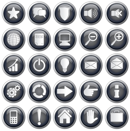 navigation pictogram: Set of useful monochrome vector web icons