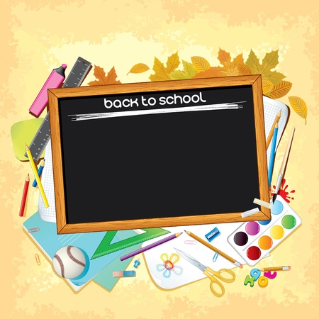 Back to School, Background with Empty Black Desk and Supplies Vector