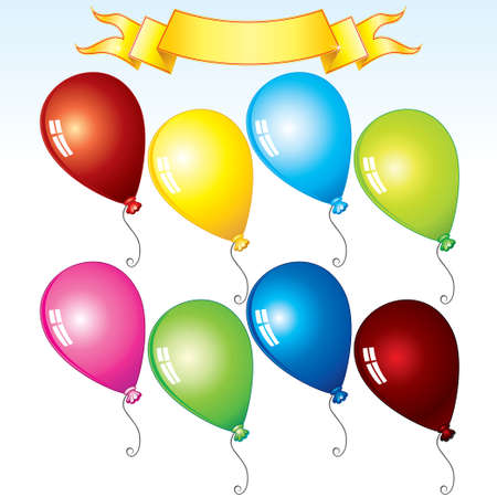 Happy Birthday Kit, colorful balloons and ribbon for your design Vector