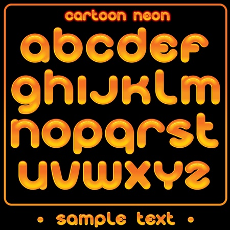 spells: Cute Cartoon Neon Font - vector letter from A to Z - funny alphabet for your text or design Illustration