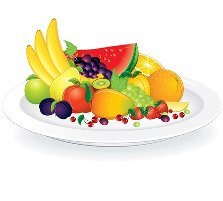 fruit platter: Fruit plate with fresh citrus fruits, bananas, apples, plums, vector illustration
