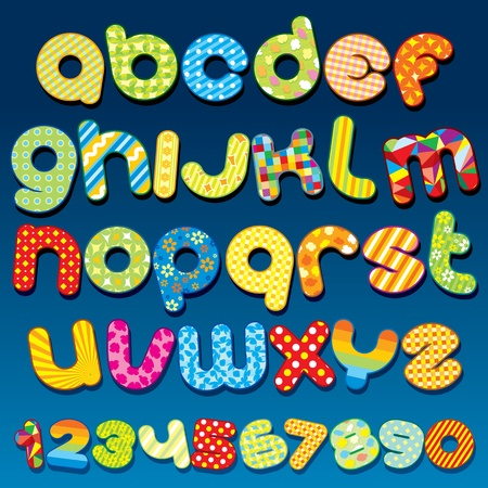 Funky Cartoon vector font - letter from A to Z, clip art for your design Vector
