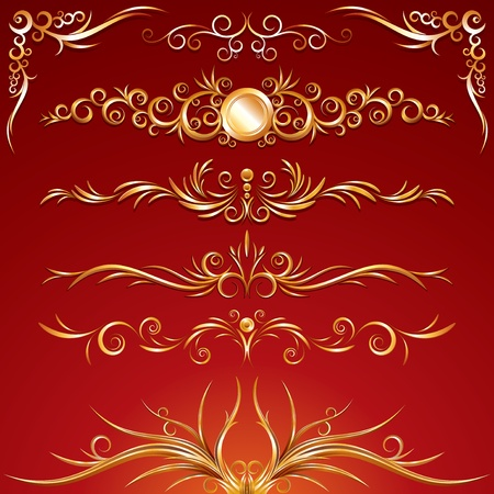 Golden Ornamental elements. Use to create your own frame or border composition. Stock Vector - 9814387