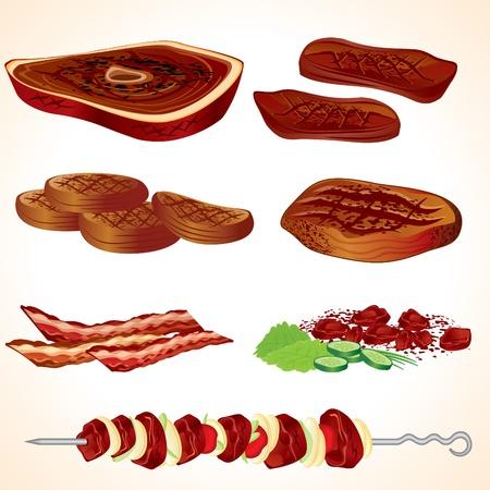 Vector de ilustración de carnes, Bacon, hamburguesas, bistecs, Shish kebab... Ilustración de vector