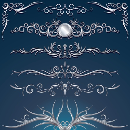Floral silver design elements, decorations, ornaments - vector illustration Vector