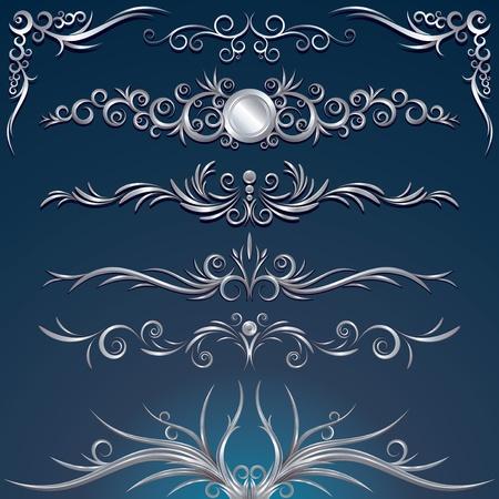 Floral silver design elements, decorations, ornaments - vector illustration Stock Vector - 9814397