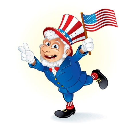 Happy Cartoon Uncle Sam with American Flag, detailed vector illustration Vector