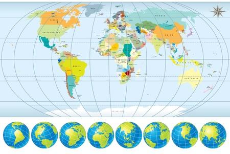 mapa: Mapa del mundo con globos - detallada vectorial editable, incluyen todos los nombres de países y capitales - líneas de frontera nacional de contorno