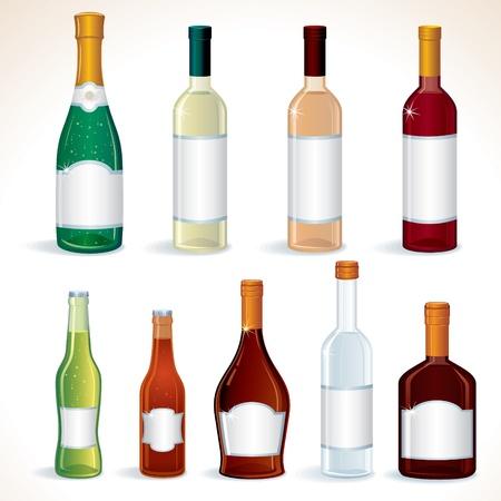 alcoholist: Glazen flessen met verschillende alcoholische dranken, vector illustraties geïsoleerd op wit