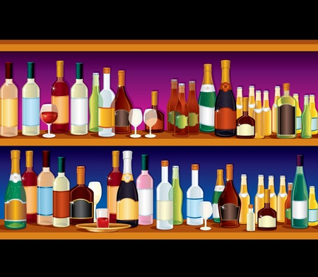 Seamless Vector Bar Shelves with variety alcohol drinks and beverages Stock Vector - 9944489