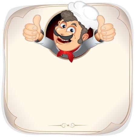 šéfkuchař: Chef Cook showing thumb up, vector menu backgrounnd template