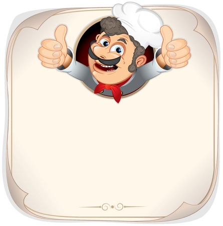 menu card design: Chef Cook showing thumb up, vector menu backgrounnd template