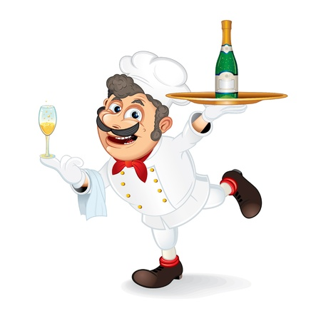 Chef Cook with Tray and Bootle of Champagne, isolated vector cartoon illustration