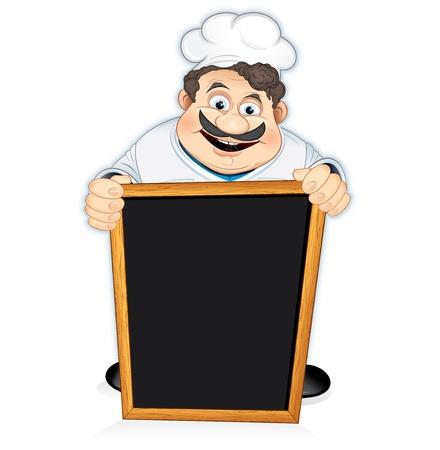 chef caricatura: Ilustraci�n de Vectores vectores Cartoon Chef Cook con Junta de men� de madera en blanco,