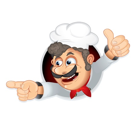 Funny Vector Chef pointing at the something Stock Vector - 9932834