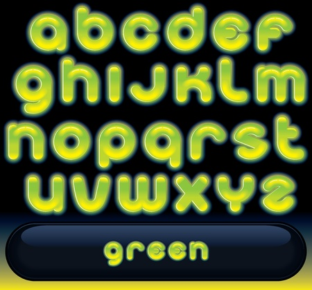 Glowing Green Font, blurred vector alphabet for black background Stock Vector - 9932845