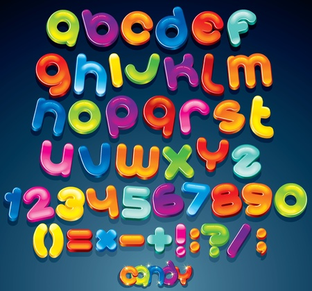 alphabet: Multicolored Shiny Vector Font, available all letters, numbers and orthographic symbols