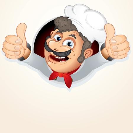 cook cartoon: Cheerful Chef Cook, vector cartoon illustration Illustration