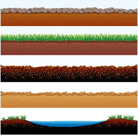 soil: Spaccato di parti vettoriale illustrazione della terra: campo di erba, carreggiata di pietre, sabbie del deserto, strada di ciottoli Vettoriali