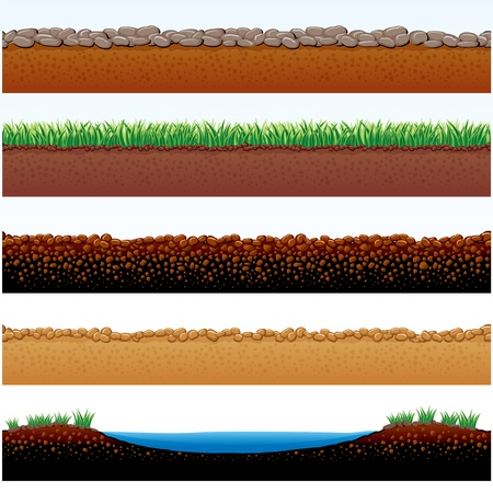 valley: Vector Illustration of Ground parts cutaway: field of grass, stones roadway, desert sands, cobblestone road