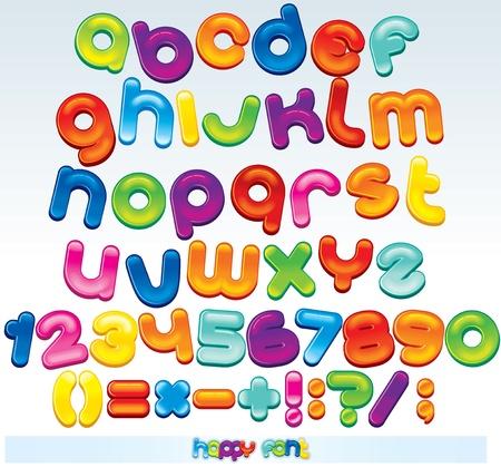 numera: Multicolores de Vector de fuente, todos disponibles letras, n�meros y signos Vectores